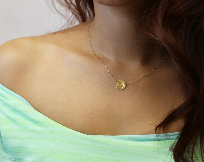 Personalized Zodiac Disk Necklace - Gold filled //Sterling silver necklace// Christmas gift EP013