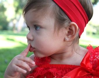 Baby headbands, baby girl headbands, red flower headband, red headbands, head wrap, infant headband, newborn girl headband, 4th of July