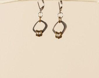Rectangle silver & brass earrings, pewter earrings, minimalist brass jewelry, hypoallergenic earwires, everyday earrings, made in Canada