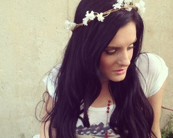 Coachella, EDC Goddess Hair Wreathes- Mini White Blooms Headband- Hair Crown- FLOWER CROWN Trendy