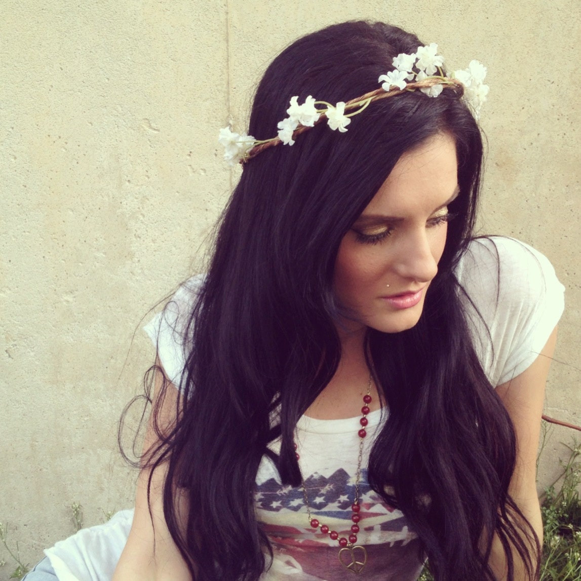 Goddess Hair Wreathes Mini White Blooms Headband Hair Crown