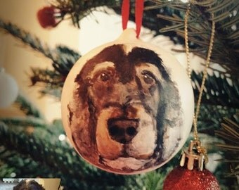 Pet portrait bauble, hand painted Christmas tree bauble, dog potrait, pet portait christmas decoration, christmas gift