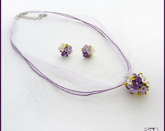 Polymer Clay Jewelry Set Flower Ball Pendant Necklace and Earrings Purple White Green Handmade Tiny Flower. Ready To ship.