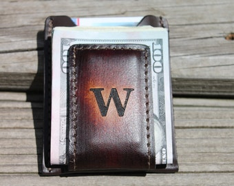 Engravable Wallet,Leather Wallet and Money Clip, monogram money clip, groomsmen gift, Money clip wallet, Monogram Engraved Free! Gift Boxed!