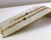 Pink Pearl & Gold - Mother Daughter Bracelet Set - One of a Kind- OOAK Hand Made