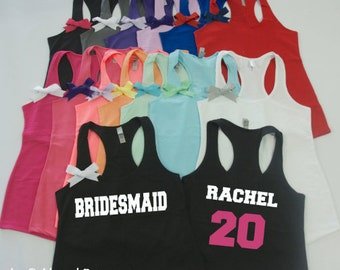 Mix and Match Bridesmaid tank tops. S-2XL. Bridesmaid tank with number on back. Football bridesmaid tank. Bachelorette shirts.
