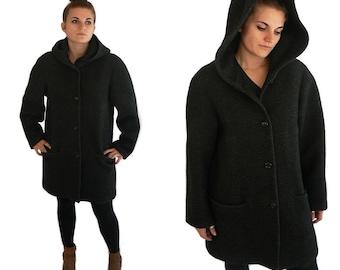 50% off sale! Vintage Wool Hooded Cloak Grey Bohemian Winter Coat Bohemian Southwestern Womens Medium Large