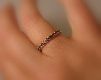 Birthstone Eternity Band, 14k ROSE Gold, Stackable, Amethyst, Aquamarine, Morganite, Customized Made to Order