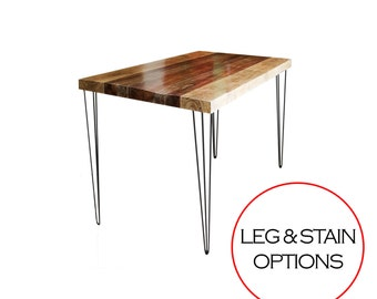 SALE Mid Century Modern & Rustic End Table- 3 Rod Hairpin Legs