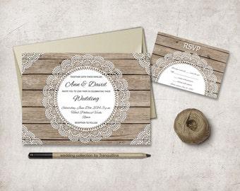 Rustic Wedding Invitation Printable, Lace Wedding Invitation, Doily Printable Wedding Invitation, Fall Wedding Invitation