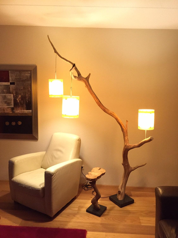 Floor lamp / arc lamp weathered old oak branch on door gbhnatureart