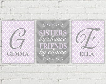 two sisters unique gift for sisters wall art - sisters room decor - purple and gray monogram - twin girls nursery art baby shower gift
