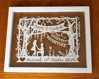 Wedding/Anniversary Papercut - Personalized Silhouette Wedding Gift - Custom - Handcut Paper Illustration