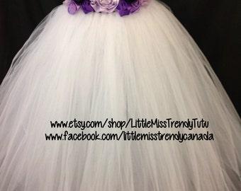 White Flower Girl Tutu Dress with Purple Handmand flowers, White Flower Girl Tutu Dress, Flower Girl Tutu Dress, Tutu Dress with Flowers
