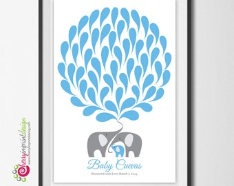 Unique Printable Elephant Baby Shower Guest Book Great for Coed Showers DIY (Digital File)