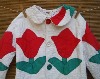 Size 5T Vintage Quilt Jacket - Girls Quilted Coat - Size 5 Years Appliqued Quilt Jacket - Vintage Tulips Quilted 5T Child's Coat
