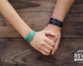 2x Personalized Couples Bracelets, Matching Bracelets, Leather Cuff, Double Wrap, His Her Bracelets, Best Friend bracelet, Infinity, heart