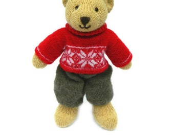 Christmas gift Knitted Bear Christmas decor Xmas gift Teddy bear Stuffed toy animals Kids gift Christmas toys Plush doll Plush bear Red Gift