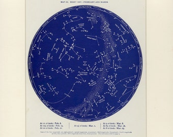 AQUARIUS February / March Star Constellation Chart Antique Lithograph C. 1887 - Astronomy Print - Wall Decor - Matted 12x16""