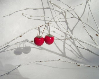 Dangle earrings red ceramic balls, sterling silver, simple earrings