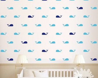 Whale Wall Decal / Fish Wall Decal / 60 Whales Sticker / Kids Room Wall  Decal