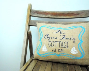 A warm country Cottage Chic  pillow cover personalized for your family! Country decor, Country pillow, burlap pillow, Personalized pillow.