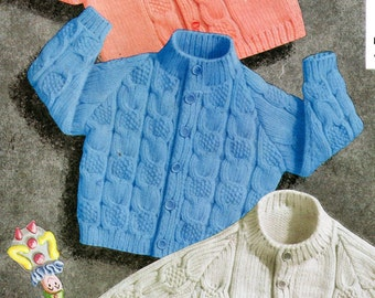 Three Baby Cardigans, PDF Vintage Knitting Pattern 8033,