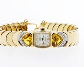 Unia 14K Gold Wrist Watch with Diamonds and Citrine