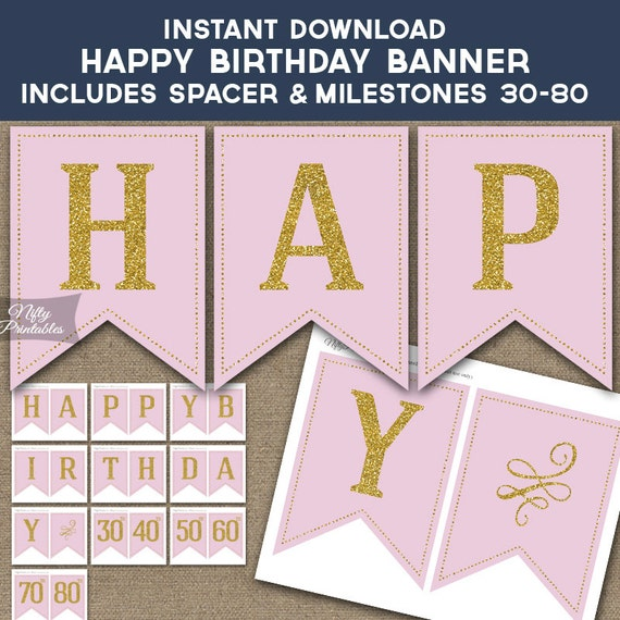 Birthday Banner Printable Happy Birthday Banner Pink