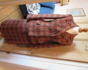 1970s Windsmoor Pure New Wool Tweed Plaid Patterned Suit- approx 10-12- Very Good Condition