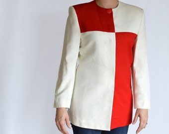 SALE 80's Vintage Red and White Long Sleeve Color Block Blouse Saville