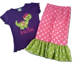 Girl Birthday Outfit with Dinosaur Birthday Shirt with Ruffle Pants