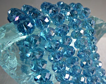 8mm Aqua Blue AB Crystal Rondelle Beads Faceted CR1,blue crystal beads,blue chinese crystal,aqua blue rondelles,aqua blue AB bead