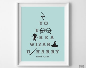 Harry Potter Print, Harry Potter Art, Harry Potter Poster, Harry Potter Quote, You're a Wizard Harry