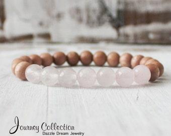Yoga Bracelet Rose Quartz Mala Meditation Bracelet Rosewood Jewelry - Unconditional Love
