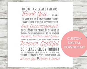 PRINTABLE | Guest Thank You Cards for Place Settings - Customized - Wedding Reception Tables - Wedding DIY - Thank You - Guest Reception