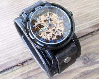 Steampunk Wrist Watch, Leather Watch, Skeleton watch, Leather Cuff Watch, Bracelet Watch, Watch Cuff, Black Watch, Vilon Leather