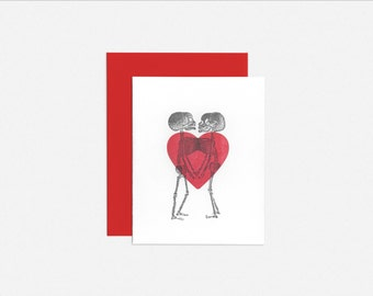 Letterpress Conjoined Twins Skeleton Greeting Card