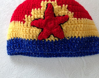 Wonder Women Hat, Crochet Beanie Hat, Wonder Women Accessories, Womens Hats, Girl's Hat, Super Girl's Hats, Superhero Hats, Wonder Woman