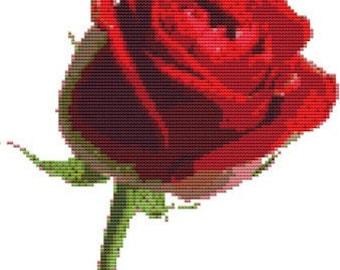 CROSS STITCH KIT- Red Rose 19cm x 24cm