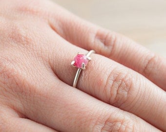 Ruby sterling silver solitaire ring, romantic dainty engagement ring. Fine handmade jewelry