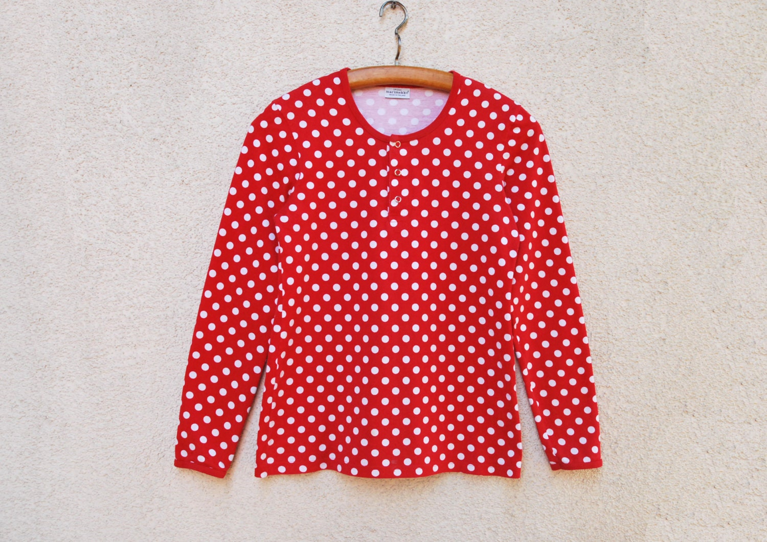 Unavailable listing on etsy for White red polka dot shirt