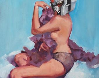 Anime Art. Pinup Gundam Art. Sexy Gundam Painting. Anime Gift