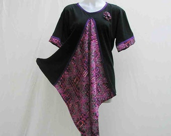 Black and pink T-shirt, black top, purple top, pink top, upcycled top, au 16 UK 14 US 12, refashioned top, asymmetrical top upcycled t shirt