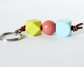 Wooden Bead Keychain