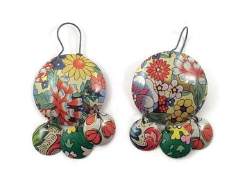Colorful Earrings - Recycled Tin - Gypsy Chandelier Style - Floral Print - Dangle Earrings - Multicolored