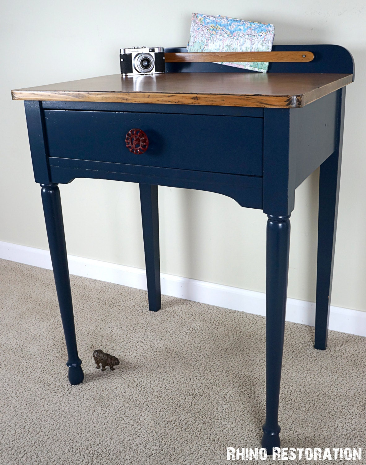 sold navy blue farmhouse style side table by rhinorestoration. Black Bedroom Furniture Sets. Home Design Ideas