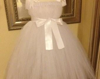 White Tiffany Inspired Flowergirl Dress