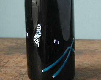 1985 Signed Fine Art Vase Glass Retro Dark Blue Violet Purple Blue Stripes Stripe White Dots Flowerpot Flower Pot Vintage Geometric
