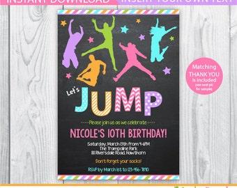 bounce house invitation / jump invitation / trampoline party invitation / trampoline invitation / trampoline birthday invitation / INSTANT